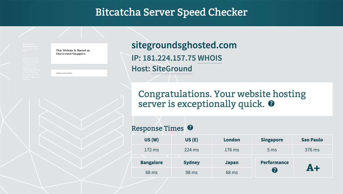 Bitcatcha server speed test